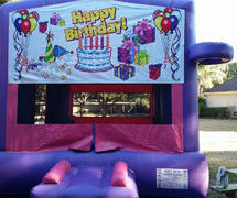 Deluxe Bounce House  Happy Birthday/ Pink/
