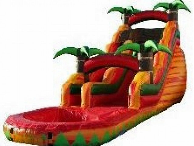 18 Foot Yellow Tropical Waterslide