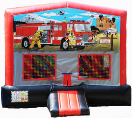 Firemen on a Mission Red/Black/Gray Module Bounce House