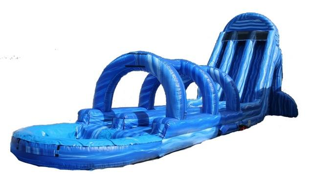27 ft Dual Lane Blue Marble Arch Waterslide/Slip & Slide Combo