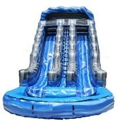 19 ft Dual Lane BLUE/GRAY Waterslide