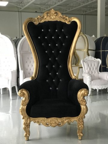 Black and Gold Throne Chair