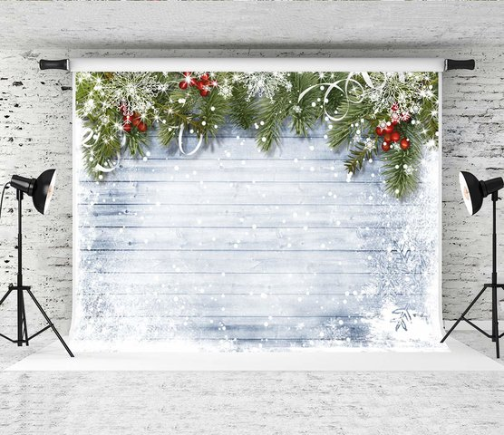 Photo Backdrop - Winter Christmas Holly