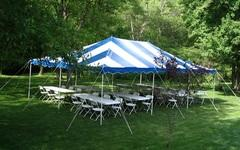 Tents,Tables,chairs, Party items.