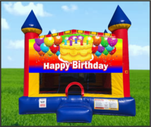 Happy Birthday Cake Large 15 x 15 Castle Bouncer