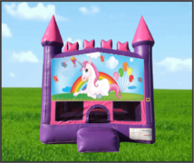 Pink & Purple Unicorn Castle bouncer 13 x 13