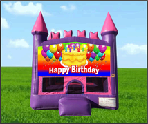 Pink Castle Happy Birthday Cake