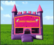 Pink & Purple Happy Birthday Castle Bouncer