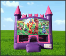 Pink & Purple Winnie The Pooh Castle Bouncer