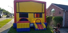 Extra large 5 n 1 combo spacewalk with basketball goal, slide, tunnel,bouncer and banner
