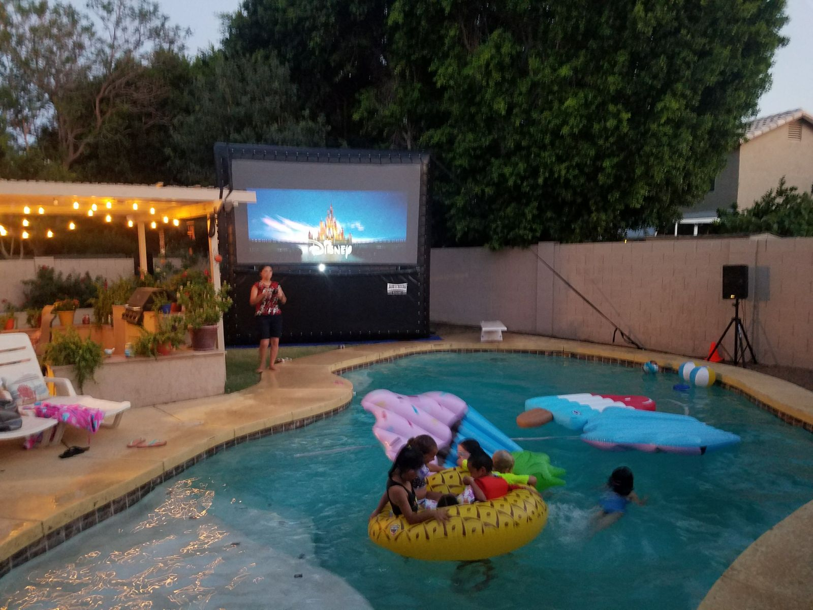 Watch Your Movie Right Next To The Pool With Rear Projection Screen This Allows All Equipment Be Safely Placed Behind
