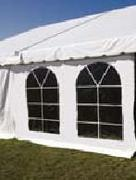Pole Canopy Solid White Sidewall with French Windows - 7 Foot x 20 Foot (Installed)