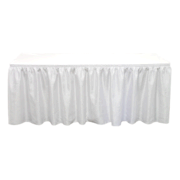 6' Table w/White Cover & Blue Skirt