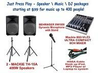DJ Package, 2 - 400 Watt Speakers, Mic w/stand, Mixer & iPod/MP3 Cord