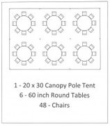 20x30 WHITE ROPE & POLE TENT