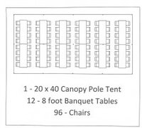 20x40 WHITE ROPE & POLE TENT