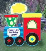 Choo Choo Train Birthday Lawn Announcement