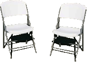 Chairs-White Metal-Plastic