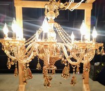 "Glass Crystal Gold CHandelier 33""X28"""