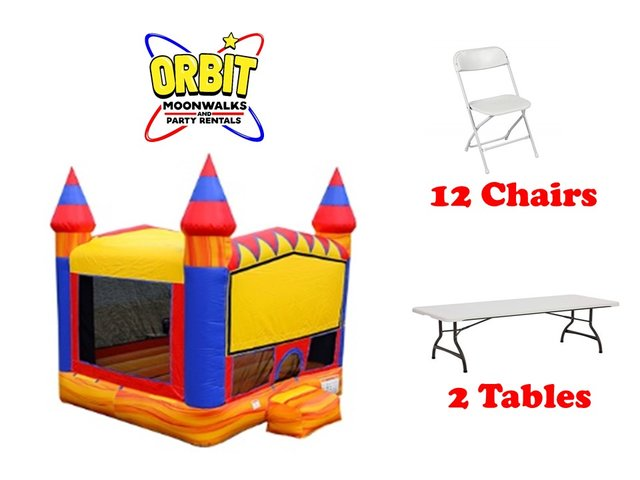 Party Package A (Turbo Blaze Bounce House, 2 Tables, 12 Chairs)
