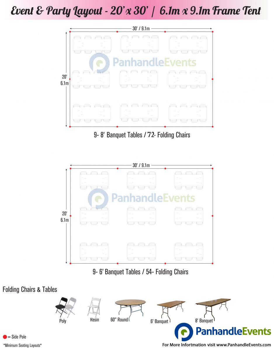 20 x 30 Tent Rental Seating Chart