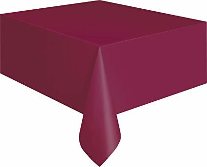 Burgundy Plastic Rectangle Tablecover