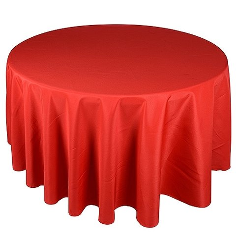 Linen Tablecloth round RED Polyester