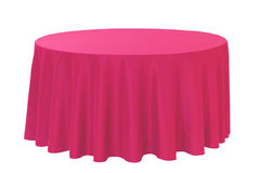 Linen Tablecloth round Pink fushia Polyester