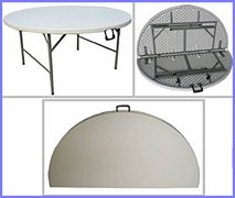 "60"" white foldable round table"