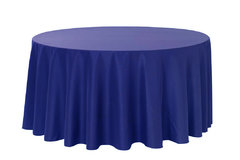 Linen Tablecloth round ROYAL BLUE Polyester