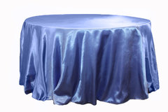 "Linen Tablecloth round Serenity Blue 108"" Satin"