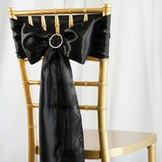 "6""x106"" Black Satin Chair Sash"