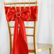 "6""x106"" Red Satin Chair Sash"