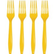 School Bus Yellow Plastic Forks