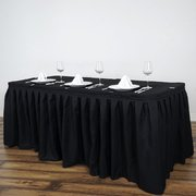 14FT Black Pleated Polyester Table Skirt