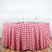 "120"" White/Red Round Checkered Gingham Polyester Picnic Tablecloth"