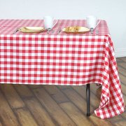 "60x126"" White/Red Checkered Polyester Rectangular Tablecloth"