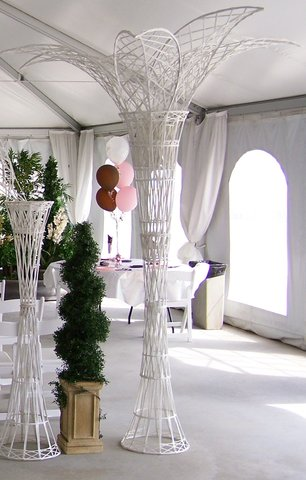 Decoration - White Wicker Palm Trees