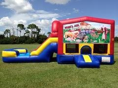Noah's Ark Bounce House Combo with Waterslide