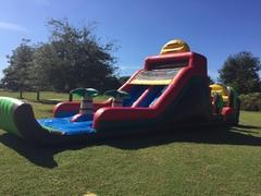 16' double lane slide with mini obstacle course