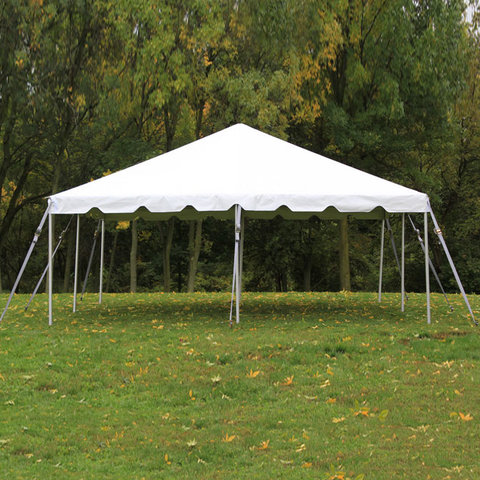 20 x 20 Frame Tent Package (White Cushion Chairs)