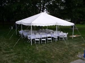 20 x 20 Pole Tent Package (White Cushion Chairs)