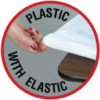 "60"" Round PLASTIC Fitted Table Cover with Elastic (White)"