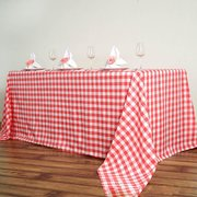 "90 x 132"" Linen Gingham Red"