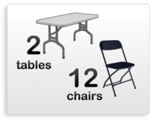2 six foot tables with 12 black chairs