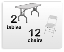 2 six foot tables with 12 white chairs