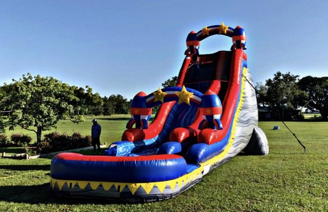 24 ft Rocket Double Drop Waterslide with XL Pool