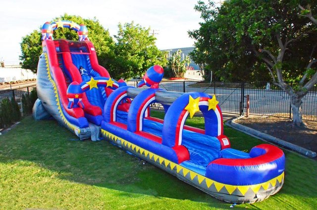 24 ft Rocket Double Drop Waterslide with Slip-n-Slide (Hottest Summer Rental)