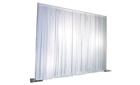 White -8 ft high Pipe and Drape ($3.50 per linear ft)