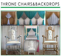 THRONE CHAIRS AND BACK DROPS